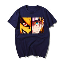 Funny Japanese Anime T Shirt Naruto Kurama Face Print Tshirt Men Summer High Quality Cotton Short Sleeve T-Shirt Men Tops(China)
