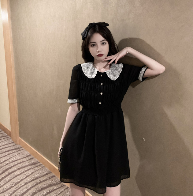 2021 Summer Retro Lace Peter Pan Collar Short Sleeve Black Chiffon Vestido Holiday A-line Chic Casual Ladies Slim Dress 5