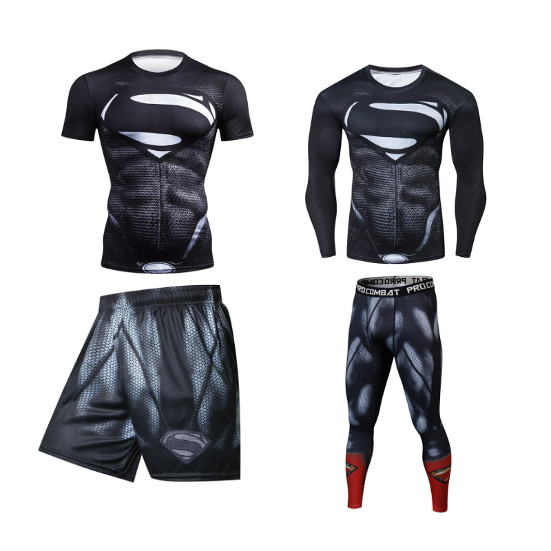 Men Sports Suits Rashguard Jiu Jitsu Jerseys Tights Pants Running T Shirt  BJJ Boxing Sets Gym Training Muay Thai MMA Fightwear