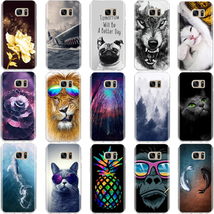 For Samsung S6 S7 Edge Case Soft Silicone Cover 3D Pattern Cute Cat Case Shell For Samsung Galaxy S6 S7 S8 S 6 7 8 Phone Cases