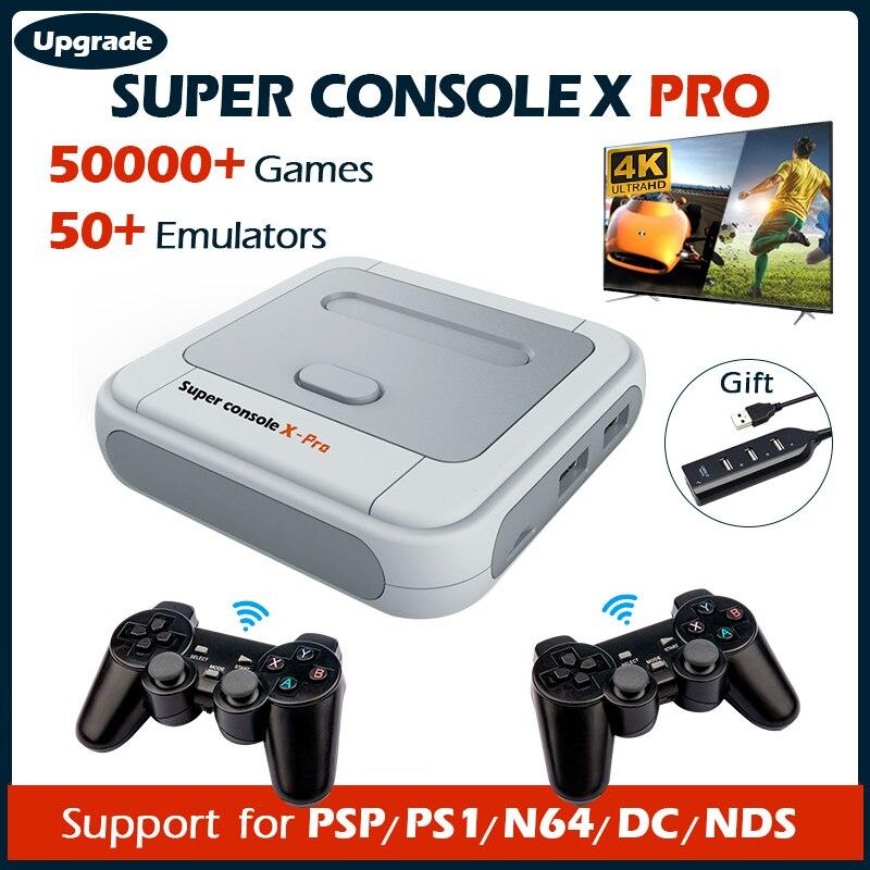 Супер консоль X Pro видео игровые консоли Wi-Fi HD мини ТВ Ретро ТВ игровой плеер для PSP/PS1/DC/N64 с 50 + эмулятором 50000 + игр