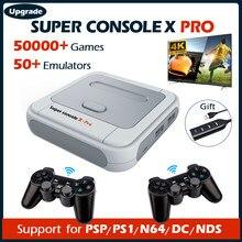Super console x pro consolas de jogos de vídeo wifi hd mini tv retro jogador de jogo de tv para psp/ps1/dc/n64 com 50 + emulador 50000 + jogos