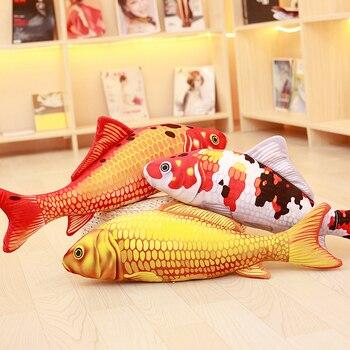 Almohada Koi realista de pescado blando de peluche, cojín de Pez Dorado, muñeco de gato de felpa chico de juguete