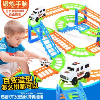 Dla dzieci zabawkowy pociąg samochód pociąg kolejowym samochód puzzle podwójne elektryczne kolejowym samochód połączenie tanie i dobre opinie yuanlebao Z tworzywa sztucznego not eat 6 lat Unisex Zasilanie bateryjne Edukacyjne