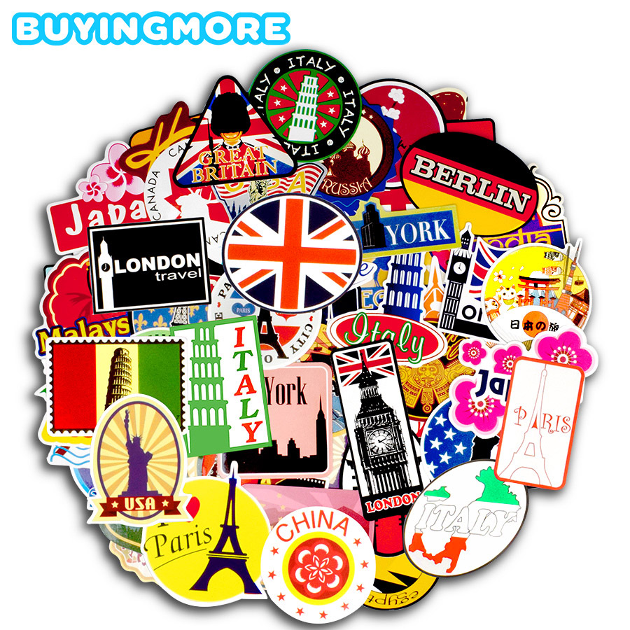 100 PCS Travel Graffiti Stickers Around The World Retro Building Sign Funny Decal Sticker To DIY Luggage Laptop Phone Car Fridge