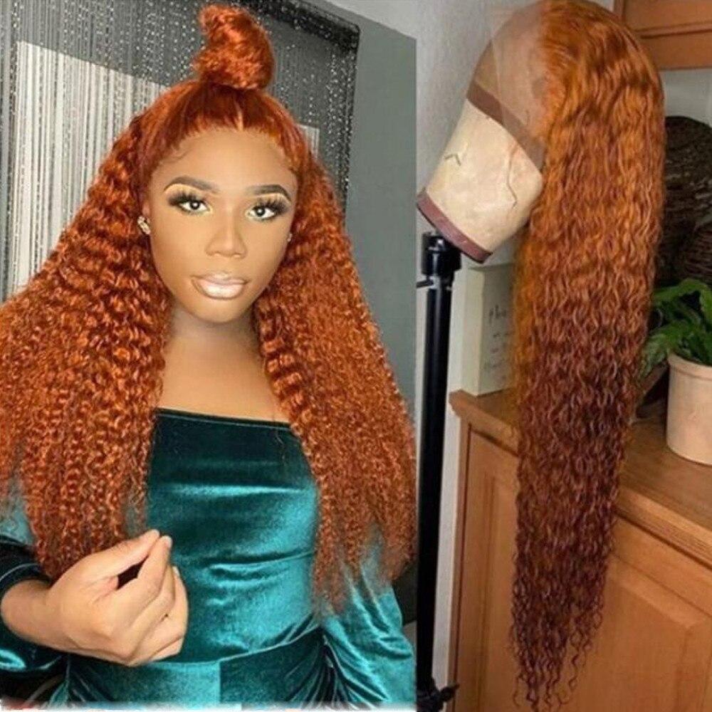 Кудрявые вьющиеся оранжевые коричневые человеческие волосы, полный парик шнурка для женщин Бразильский Реми отбеленные конты бесклеевые п...