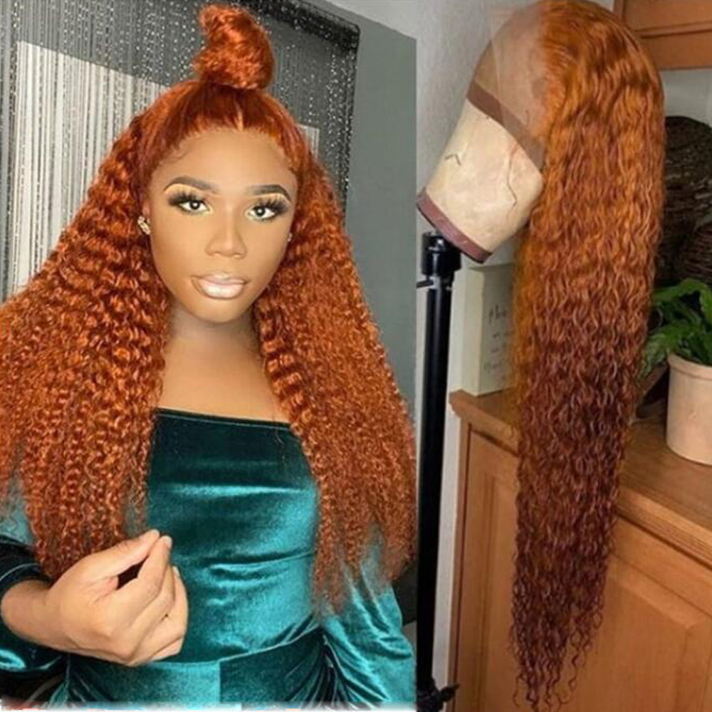 Kinky Curly Orange Brown Human Hair Full Lace Wigs For Women Brazilian Remy Bleached Konts Glueless Wigs With Baby Hair