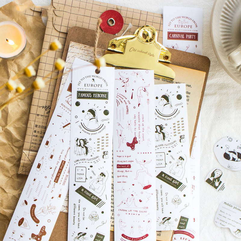 Mohamm Time Thinker Series Color Washi Masking Tape Release Paper Stickers Scrapbooking Stationery Decorative Tape
