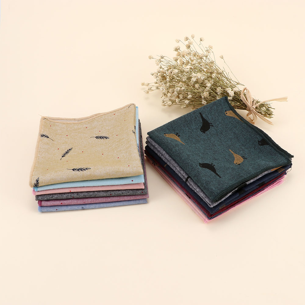 Fashion Men's Cotton Pocket Square Western Style Embroidery Floral Handkerchief For Suit Pocket Wedding Suit Accessories
