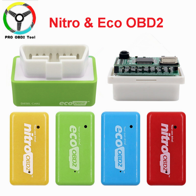 2019 Fuel Save 15%  Nitro & Eco OBD2 Car Economy Chip Tuning Box Plug & Drive For Benzine Cars Lower Fuel Lower Emission