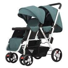 לדחוף תאום תינוק מושב אחורי עגלת תינוק זוגות אור 6 12 חודשים יכול לשבת או לשכב