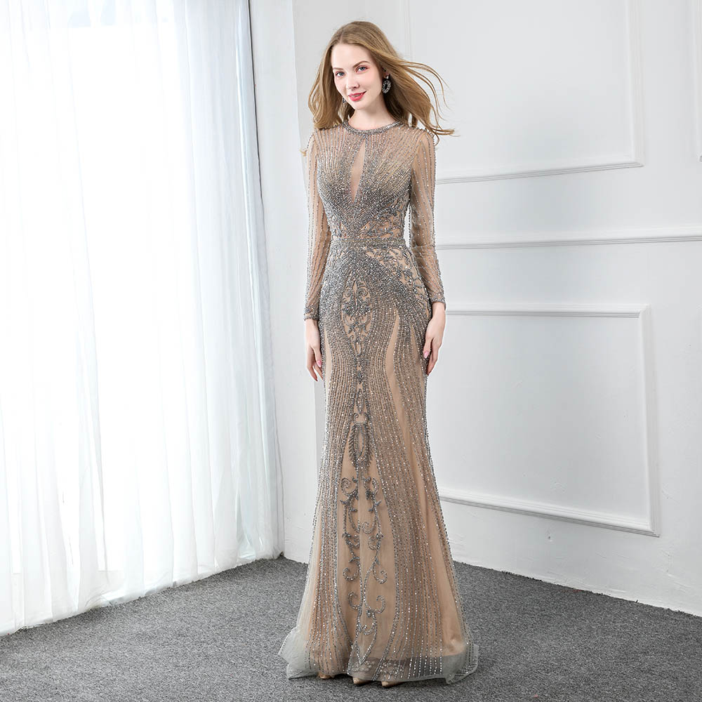 YQLNNE Luxury Rhinestones Nude Long Sleeve Evening Dress 2019 Evening Gown Competition Formal Dresses Mermaid Robe De Soiree
