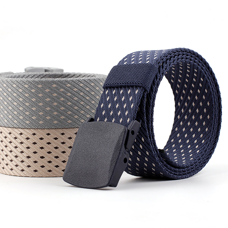 Anti Allergy Waistband Belt Brand Unisex Design Without Metal Security Nylon Outdoor Thickening Plastic Buckle Male Casual Belt