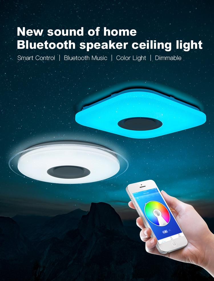 Hc08f487997d54bcb9ce0e8bca7c728beZ Smart led ceiling Light RGB Dimmable 25W 36W 52W APP control Bluetooth & Music modern Led ceiling lamp living room/bedroom 220v