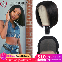 Natural Color Straight Lace Closure Wigs Brazilian Remy Human Hair 4X4 Lace Closure Wigs Brown 99J Burg Lace Front Wigs EUPHORIA