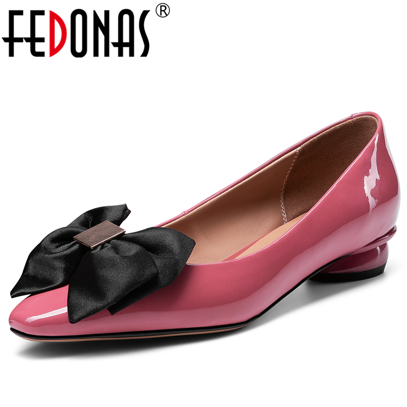 FEDONAS 2020 Spring Concise Elegant Sweet Women Cow Patent Leather Pumps Butterfly-Knot Pointed Toe Low Heel Shallow Shoes Woman