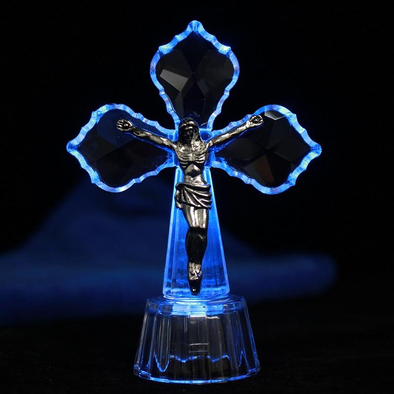 JESUS CHRIST CROSS CRYSTAL GLASS STATUE ORNAMENT CATHOLIC HOME DECORATION