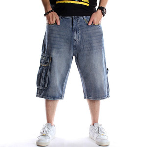 Image 4 - メンズプラスサイズルーズバギーデニムショート男性ジーンズファッションストリートヒップホップロング 3/4 カプリカーゴショーツポケットバミューダ男性ブルー