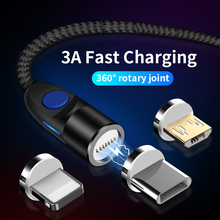 LED Magnetic Cable For Micro USB Type C Lighting Cable For iPhone  XR X 7 8 Samsung3A Fast Charge Magnet Charger USB-C Type-C 2m цена и фото