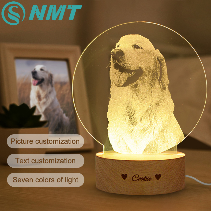 Dropshipping Photo/Text Customized 3D Night Light Desk Lamp Wooden Base Christmas Valentine's Day Gift USB Power Custom Lamp