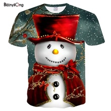 Новинка, Мужская забавная футболка, s футболки с рождественским узором, мужские рождественские футболки, повседневная футболка с Санта Клаусом, 3d принт снеговика, вечерние топы