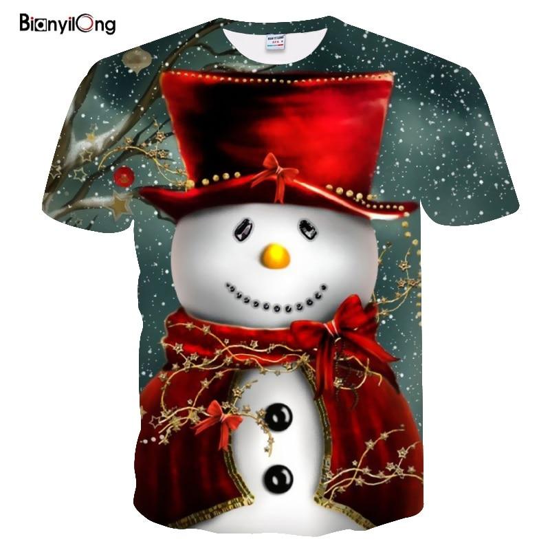 2019 New T Shirt Men Funny T Shirts Christmas T-shirts Men Xmas Tshirts Casual Santa Claus T Shirt 3d Snowman Print Party Tops
