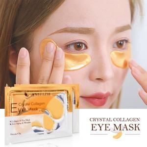 1 Pair=2pcs 24K Gold Crystal Collagen Eye Mask Collagen Crystal Eye Mask Gel Eye Patches for Eye Bags Dark Circles Remove TSLM1