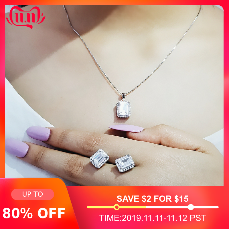 Moonso 925 Sterling Silver cushion zircon jewelry set for Wedding African Bridal wholesale christmas party gift for women J4750
