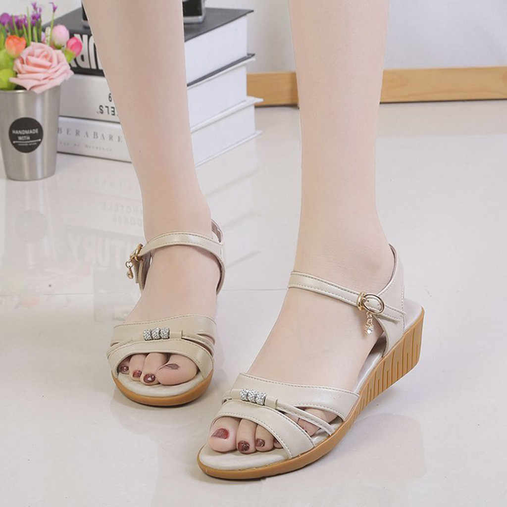 Mode Damen Elegante Reine Farbe Keil Ferse Casual Sandalen Frauen Sommer Schuhe zapatos de mujer tacon rosa #0125G10