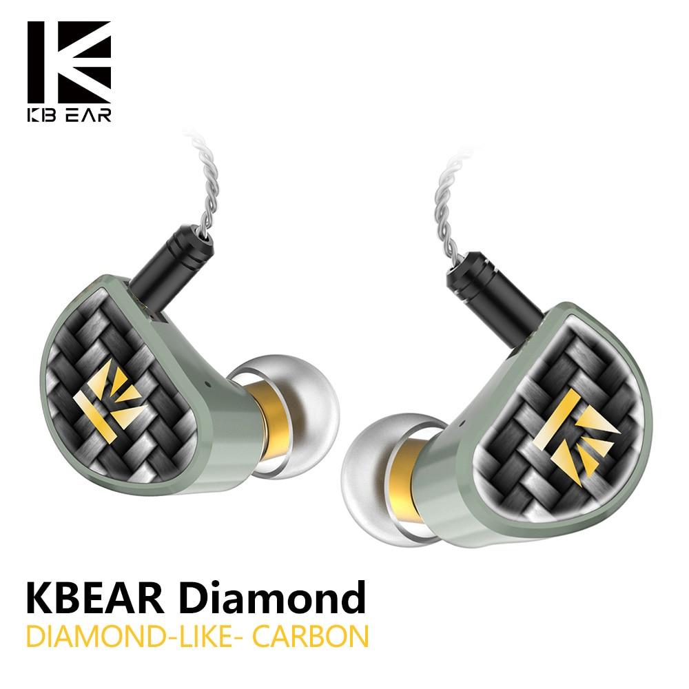 Наушники KBEAR из карбона с алмазным покрытием (DLC), наушники для домашних животных, Hi Fi, диджейские спортивные наушники с уравновесенным якоре