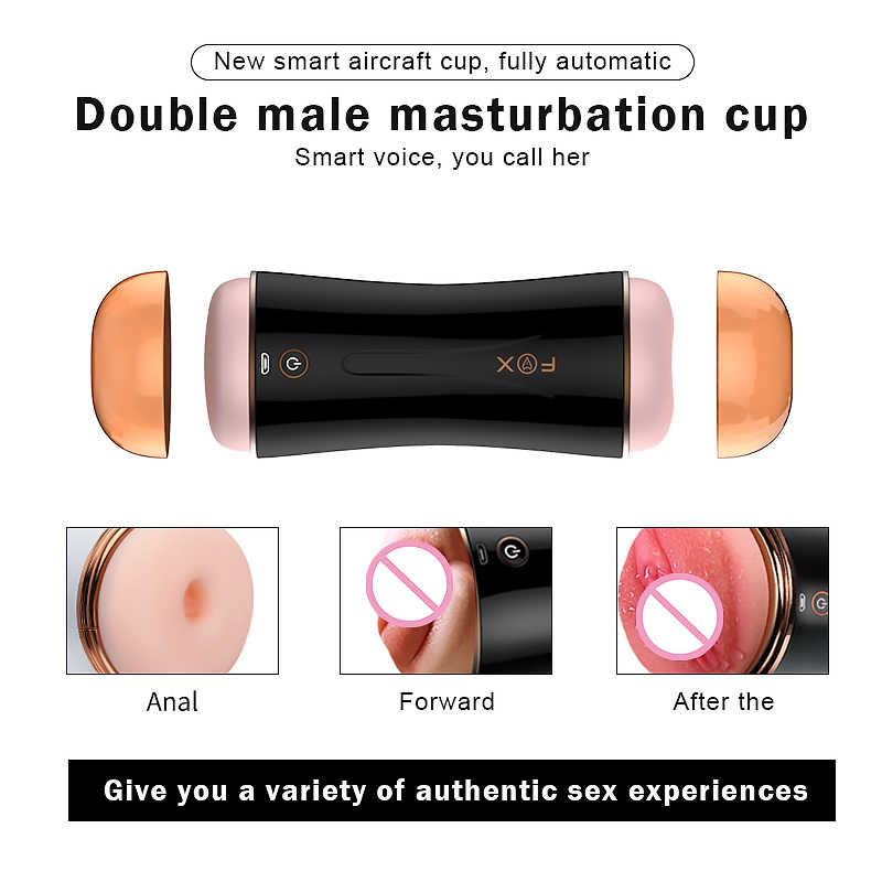 Masturbateur de poche électrique mâle double vagin vraie chatte 10 vitesses Masturbation oeufs érotique sex shop produits pour adultes