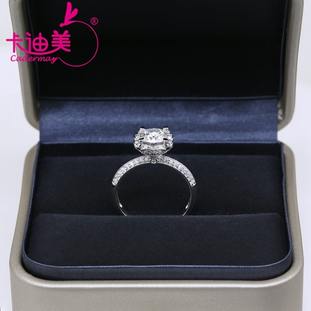 CADERMAY S925 Silver Jewelry 1CT Round Brilliant Cut Flower Style Moissanite Diamond Wedding Ring Band For Ladies Hot Sale 3