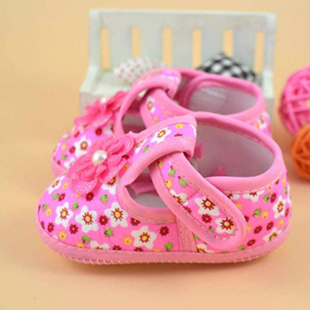 Bebek kız ayakkabı yenidoğan çiçek baskılı botlar yumuşak beşik ayakkabı yumuşak kaymaz pamuk taban ilkbahar sonbahar ilk yürüyüşe 0-18M