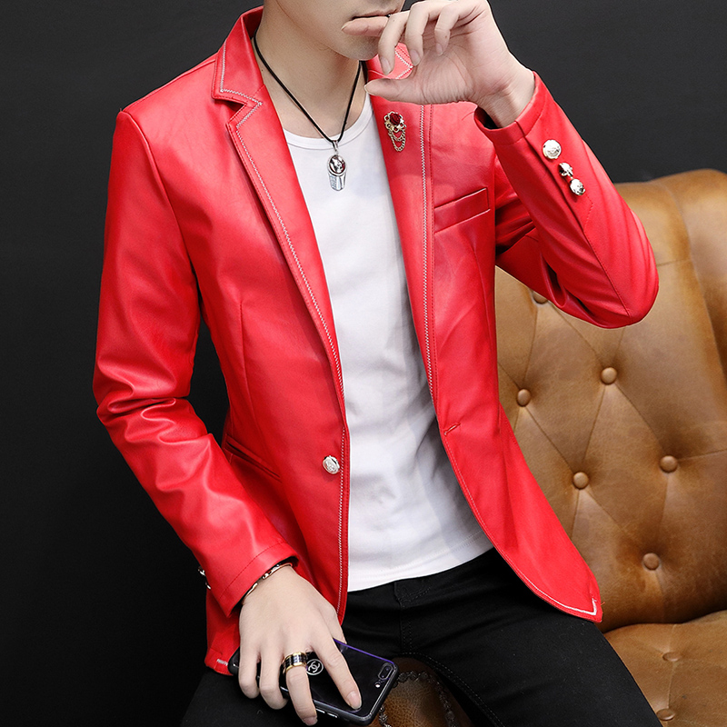 Fashion Mens PU Leather Slim Fit Jacket Black White Red One Button Men Coat Lapel Velvet Liner Thick Warm Jackets M012