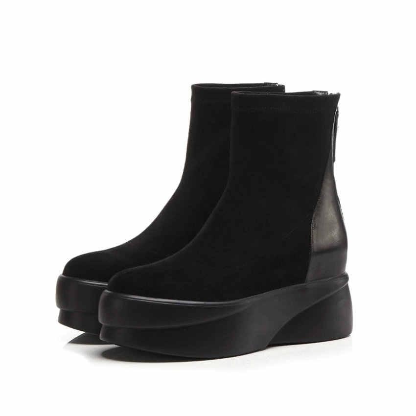QUTAA 2020 plate-forme bout rond fermeture éclair bottines hauteur augmentant Patchwork cuir de vache troupeau loisirs femmes chaussures taille 34-39