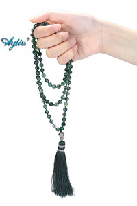 Image 4 - Ayliss 6mm Natural Rhodochrosite/Moss Carnelian Tassels Necklace 108 Beads Buddhist Prayer Tibetan Mala Multilayer Wrap Bracelet