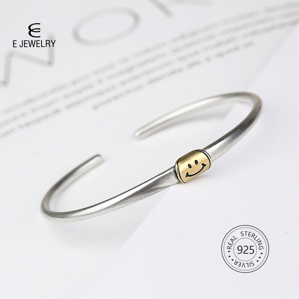 E Jewelry Sterling Silver 925 Gold Color Smile Cuff Bracelets for Women Girl Fashion Opening Bracelet Bangles Adjustable