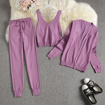 ALPHALMODA Spring Candy Color Knitted Cardigans + Camisole + Pants 3pcs Fashion Suit Women Seasonal Stylish Clothes Set 11