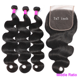 7 X 7 Bundles With Closure Tuneful 100% Brazilian Body Wave Remy Human Hair Weft  Lace Closure With 3 Bundles Middle Ratio