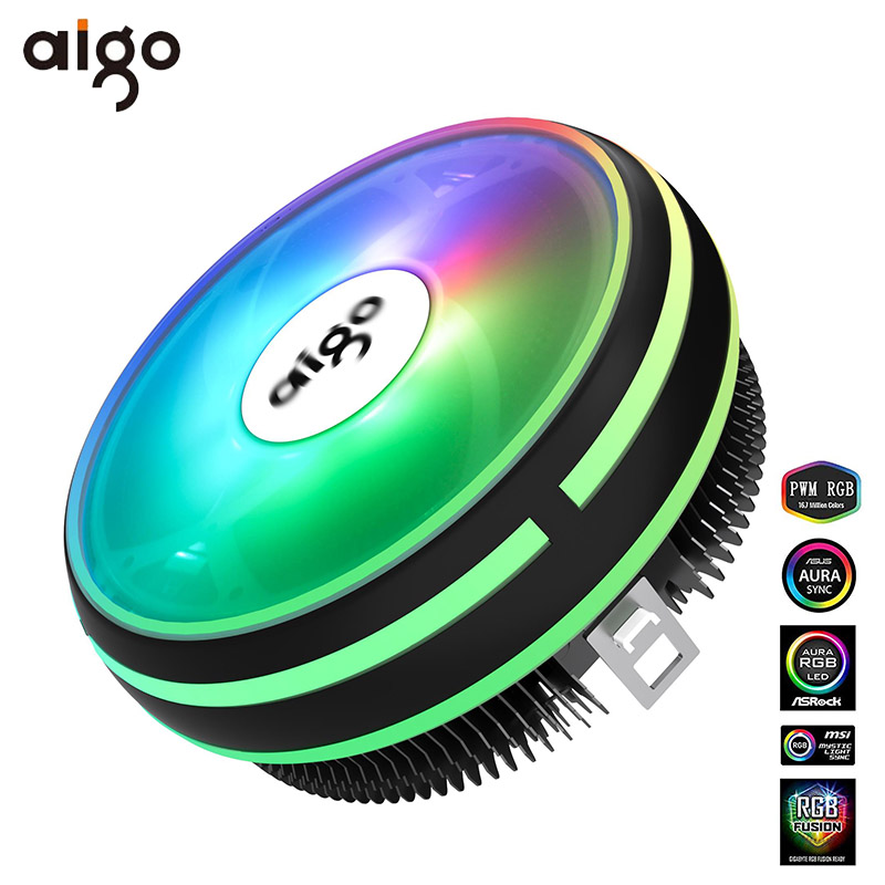 Aigo CPU Cooler Radiator 120mm PWM 12V SYNC RGB LED Fan CPU Air Cooling Computer Cooler LGA/1151/1155/AM3/AM4 4Pin CPU Cooler(China)