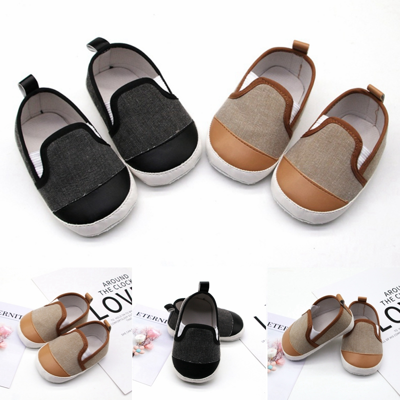 New Newborn Baby Boy Crib Pram Shoes Prewalker Soft Sole Slippers Trainers First Walkers Baby Casual Shoes 11-13cm
