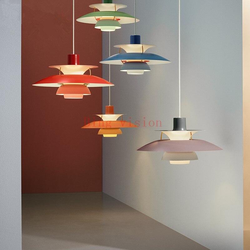 Haute qualité E27 suspension colorée parapluie Led suspension lampe salle à manger pendentif Led lampe Led lampara luminaires - 4