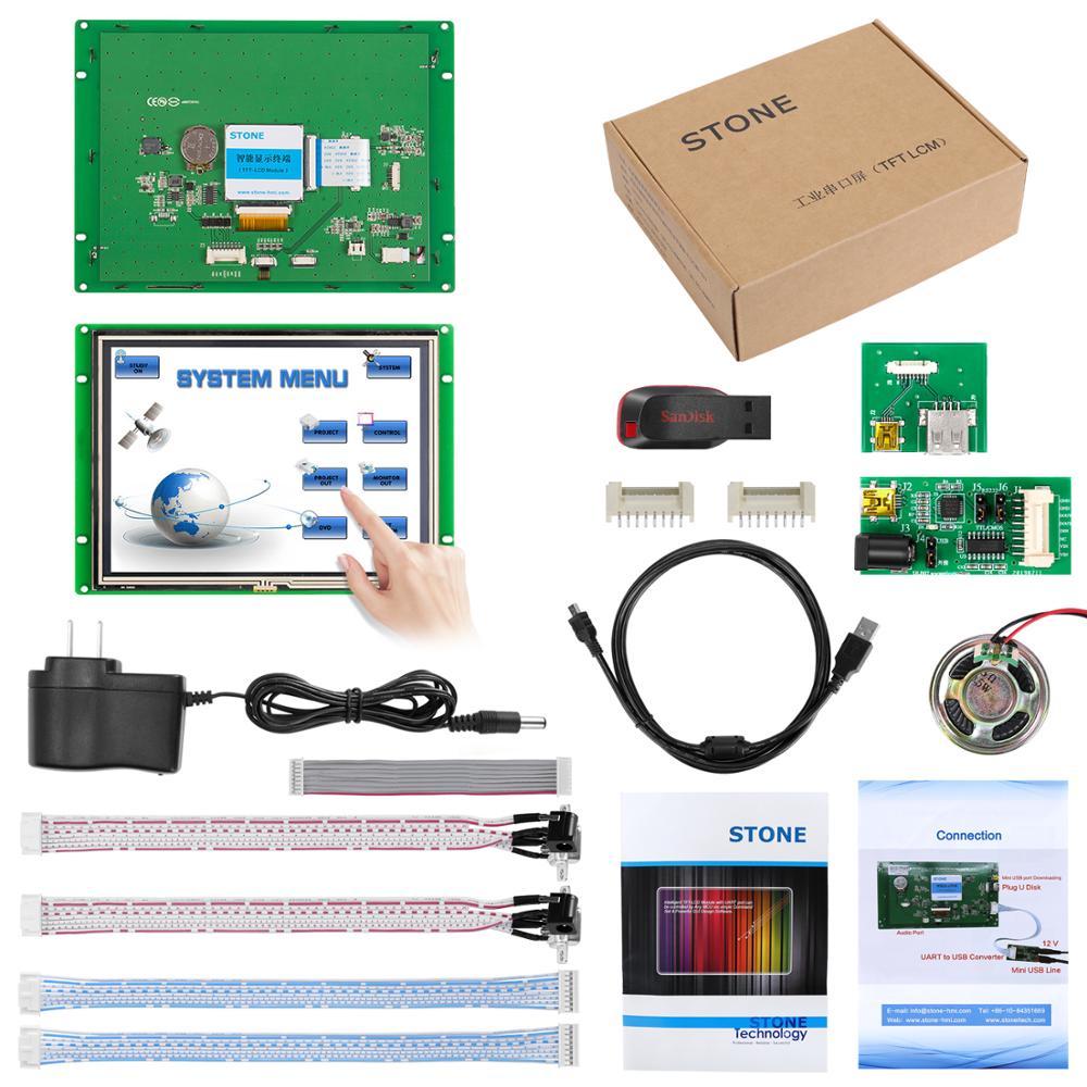 8 Inch 800x600 Industrial HMI LCD Panel Module With Touchscreen + UART MCU Interface + Controller Board