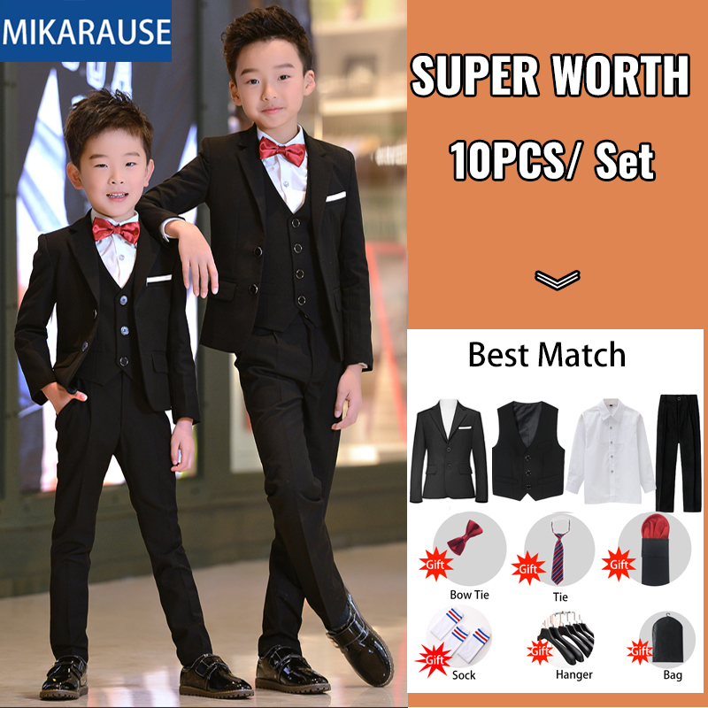 Discount¦5PCS Kids Boys Suits Black Blazers Formal wedding Tuxedos Teenage School Party ClothesÐ