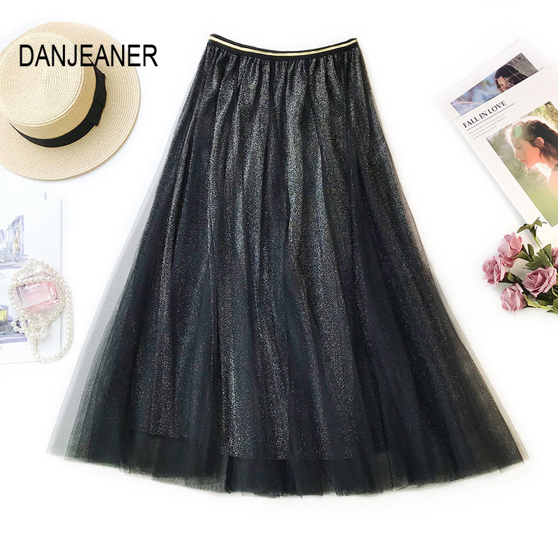 DANJEANER Spring Tulle Skirts Womens Fashion Shining Mesh Tutu Skirt Pleated High Waist Long Midi Skirt Saias Faldas Jupe Femme