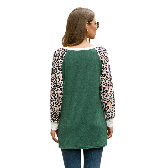 2019 automne nouveau Style européen et américain femmes Amazon vente chaude Leopord motif imprimé Kink à manches longues T-shirt O cou C