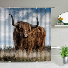 Highland Cow Theme Shower Curtains 3D Print Waterproof Cloth Wildlife Animal Bathroom Curtain Set Bathtub Art Decor With Hooks