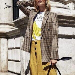 Image 4 - Simplee Moda doppio petto plaid giacca Femminile a maniche lunghe ufficio delle signore giacca sportiva 2018 Autunno delle donne del rivestimento della tuta sportiva cappotti