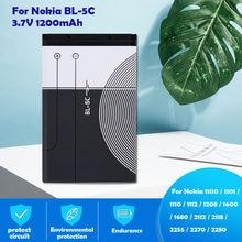 3.7V 1200mAh BL-5C BL5C BL 5C bateria litowa do Nokia 1112 1100 1110 1200 1208 1600 2300 2600 2610 3100 3110 5130 6230 n70 n71