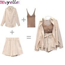 3 Piece Outfit for Women Summer Autumn Three Sets Casual Linen Plaid Tops + Shorts Elastic Waist Wide Leg Pants Suit Set
